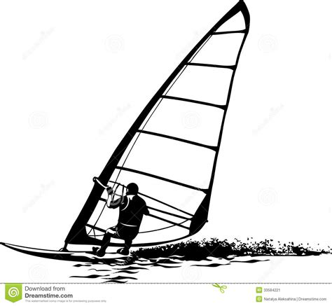silhouette of the windsurfer stock image image 33584221