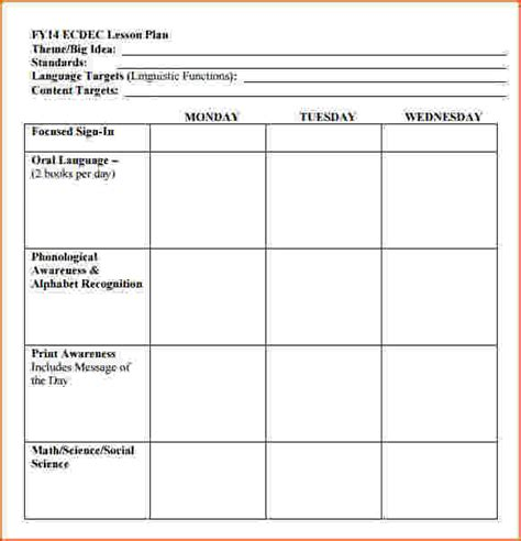 free editable lesson plan template free lesson plan template for elementary school free