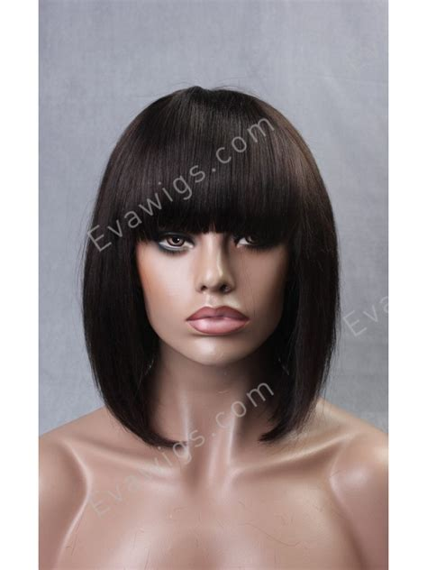how to cut fringe bangs in bob inverted cut bob with full fringe bangs virgin human hair