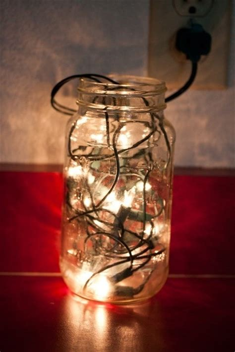 fill a mason jar with christmas lights top diy ideas