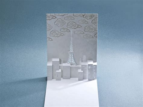 lasercut popup card template porigami laser cut popup cards of sights in tokyo spoon