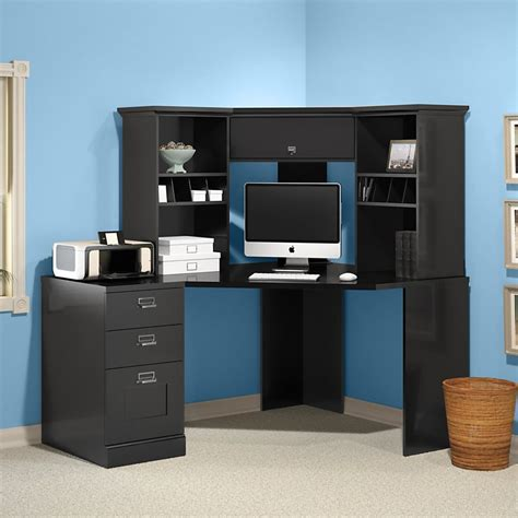 black desk with hutch l shaped computer desk with hutch sets black color