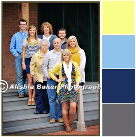 blue family family photo colors yellow light blue navy grey
