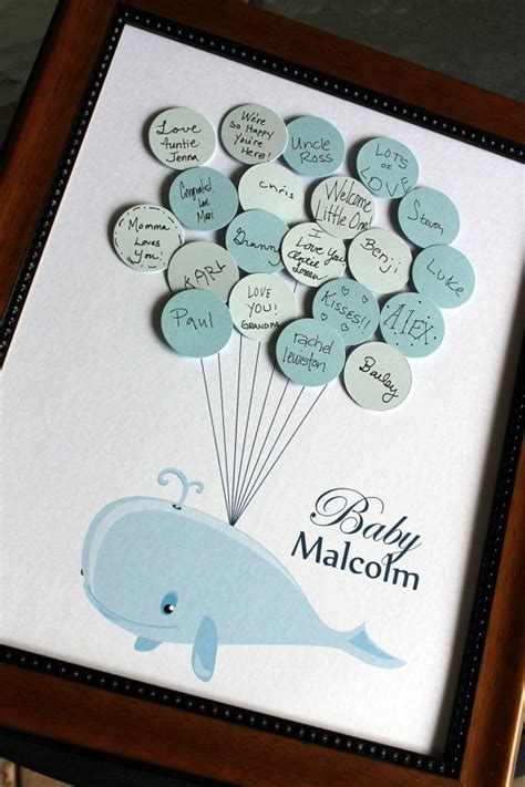 Baby Shower Guest Book Ideas by Baby Shower Guest Book Whale With Balloons Light