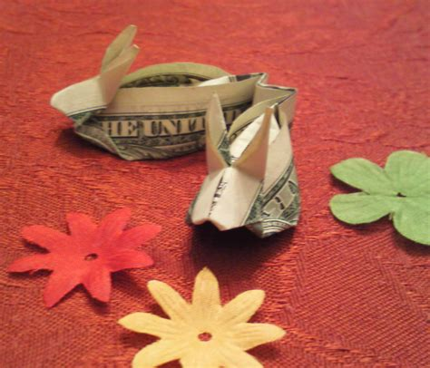 Origami Money Bunny - teeny tiny origami money bunny rabbit slippers with box and