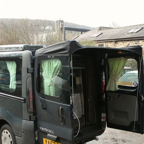 rear door van awnings barn door awning for vivaro trafic black awnings