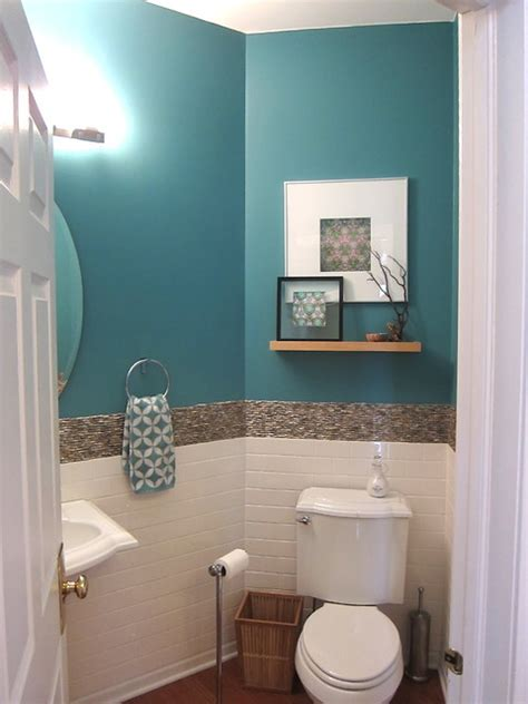 dark turquoise bathroom transitional eclectic tropical powder room