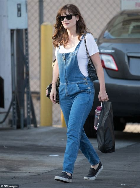 Jimmy Overall zooey deschanel wears comfy overalls as she arrives for