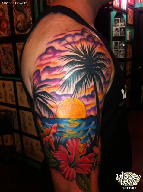 hawaiian palm tree water beach tattoo tattoos