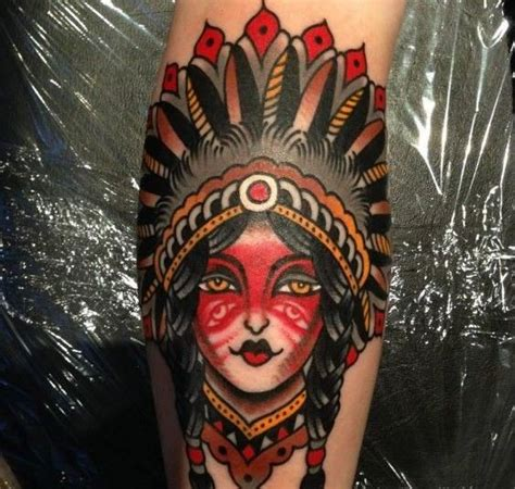 old school girl tattoo old school native american girl tattoo by luke jinks