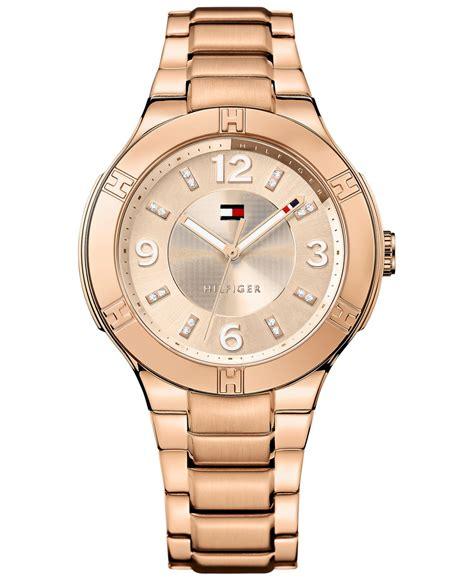 Hilfiger 1781439 Rosegold Pink lyst hilfiger s gold ion plated stainless steel bracelet 39mm 1781445