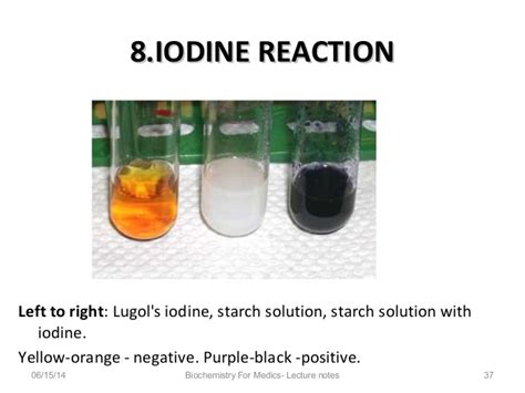 color of iodine qualitative tests for carbohydrates