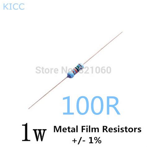 100 ohm resistor 1w 1w 100 ohm 1 metal resistor 1w 100r 200pcs lot free shipping in resistors from
