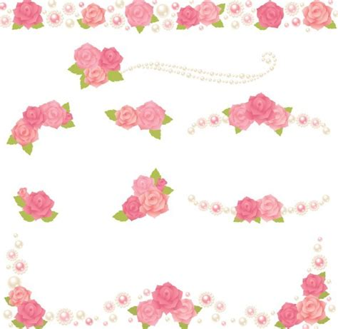 free cute pink flower borders vector 02 titanui