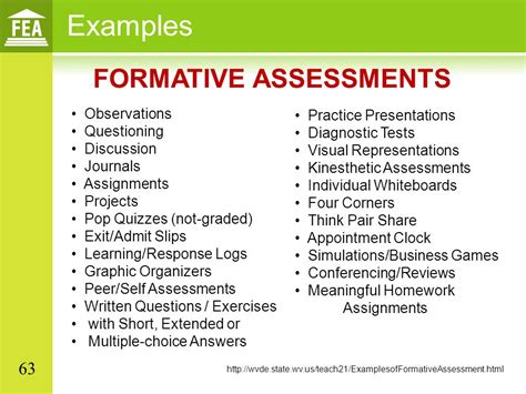 exle of formative assessment student growth objectives in all content areas ppt