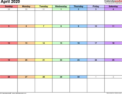 april  calendars  word excel