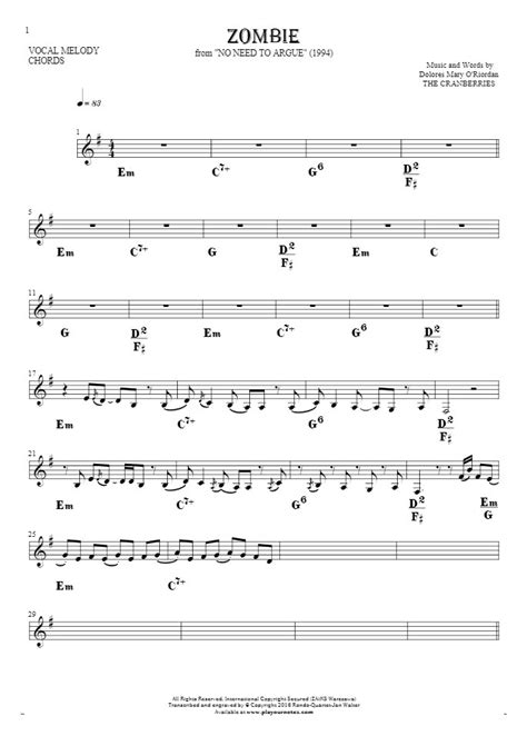 The Cranberries Zombie Guitar Chords