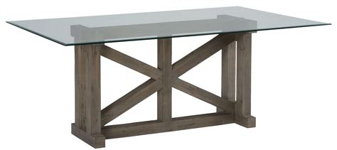 hton sandblasted glass top trestle dining table 872
