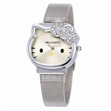 Rantang Stainless Hello 1 cat quartz hello luxury fashion silver stainless steel net band