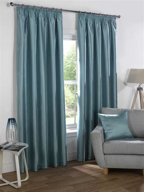 blue curtains blackout duck egg blue faux silk blackout lined pencil pleat
