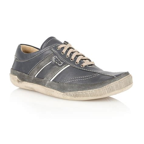 lotus s cheltenham navy leather lace up trainers