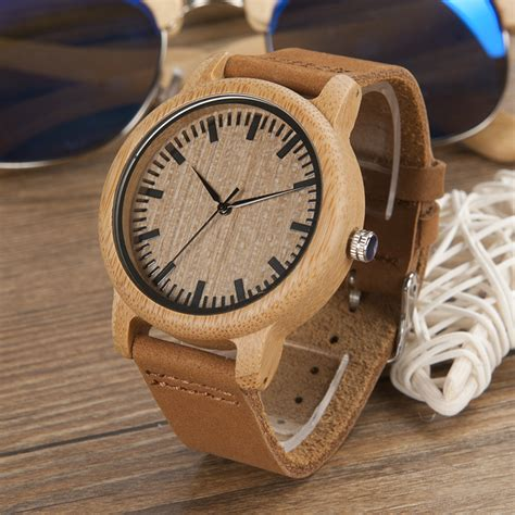 Skone Casual Wood Bamboo Quartz 7398 bamboo wood quartz watches with soft leather straps