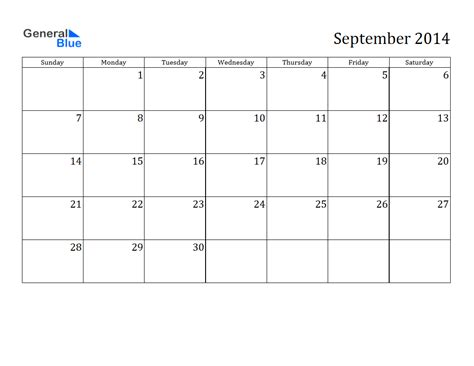 september 2014 calendar template blank september 2014 calendar printable printable