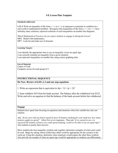 five e lesson plan template 5 e lesson plan template for math images template design