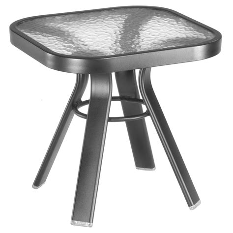 Patio Accent Tables Homecrest Glass Top Square End Table Patio Accent Tables At Hayneedle