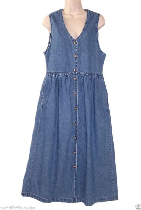 Jumper Denim Dress cabin creek womens blue denim jumper dress size 8