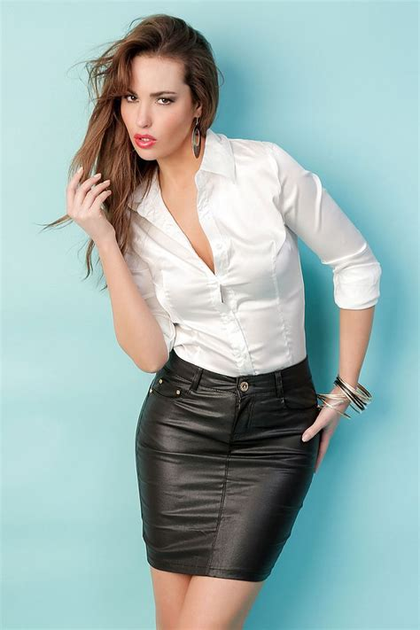 Skirt And Blouse Combinations by The White Blouse Paired With The Leather Skirt Is A Great