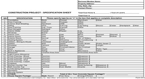 New Home Construction Bid Sheet Home Construction Sheet Spec Sheet Template For New Construction