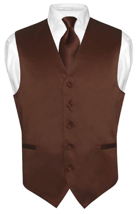 s dress vest necktie chocolate brown neck tie set for