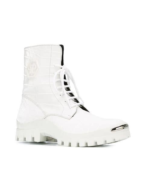 philipp plein alligator embossed leather combat boots in