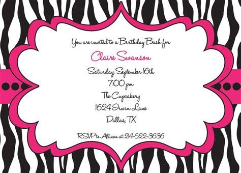 printable pink zebra print invitations hot pink and black zebra print girls birthday party