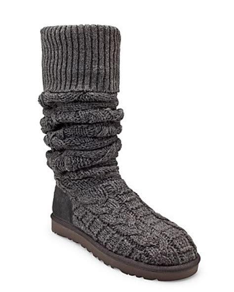 ugg the knee cable knit boots back ugg womens the knee twisted cable knit boots black