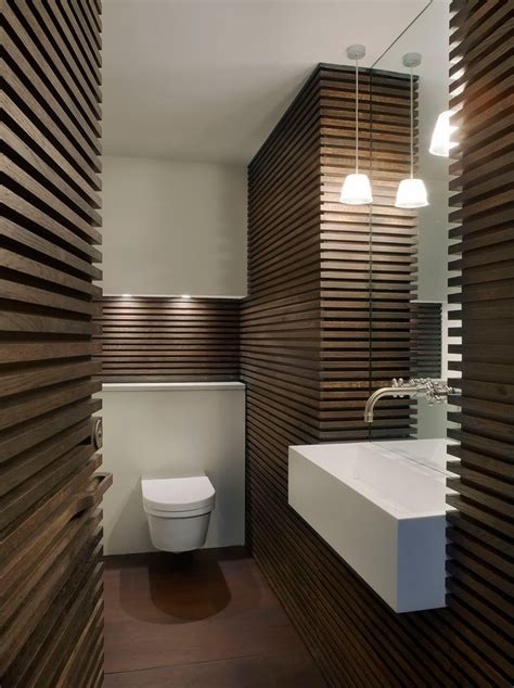 Cloakroom Bathroom Ideas by Wall Mount Gas Powder Room Contemporary With Brown And