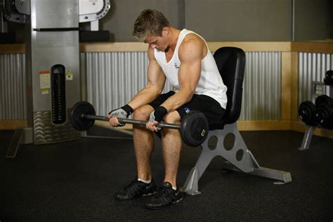 seated barbell curl seated palm up barbell wrist curl exercise guide and