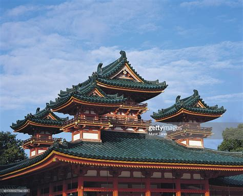 traditional japanese architecture traditional japanese traditional japanese architecture heian shrine stock photo