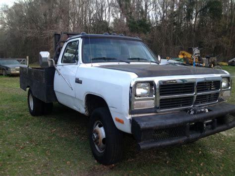1991 dodge w350 flatebed truck diesel 4x4 5 speed for sale