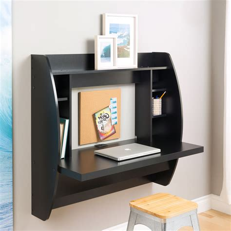 Computer Desk Shelf Modern Floating Computer Desk Wall Mounted Writing Table Laptop Wood Shelf Black Ebay