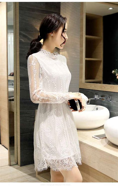 Valencia Dress Putih Brokat Import dress putih korea brokat 2016 model terbaru jual murah