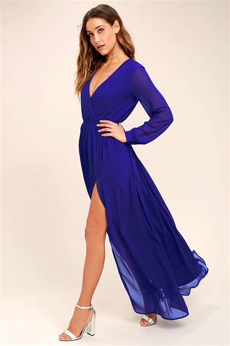 43564 Blue Royal Lace S M L Dress Le230517 Import lovely royal blue dress maxi dress sleeve dress