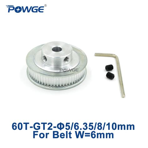 powge 1pcs 60 teeth gt2 timing pulley bore 5mm 6 35mm 8mm 10mm for width 6mm gt2 timing belt
