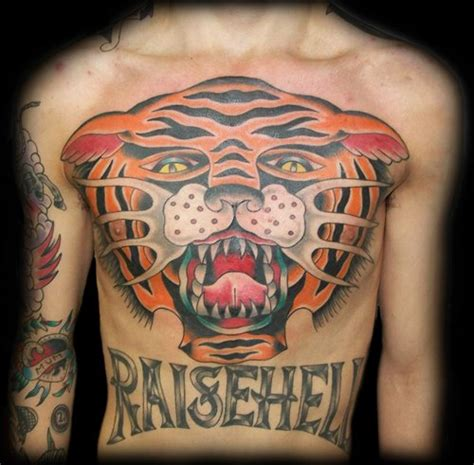 old school tiger tattoo chest school tiger by broad studio