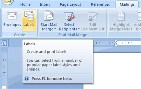 Creating Envelopes And Labels Tutorial - creating custom labels in microsoft word 2007 tutorial
