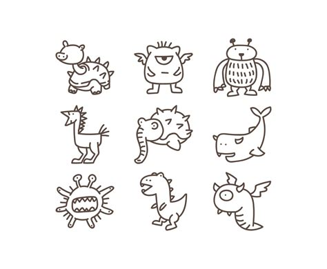 doodle monsters doodle vector graphics freevector