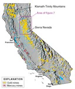 map of california gold mines mercury contamination from mining in california