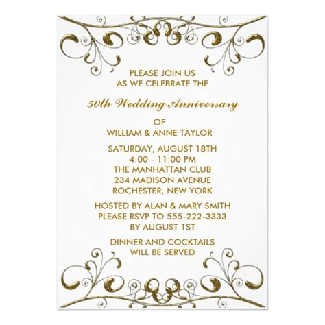 50 anniversary invitations templates gold swirls 50th wedding anniversary invitations 5 quot x 7