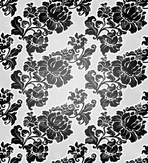 black and white retro wallpaper black and white floral retro wallpaper vector clipart